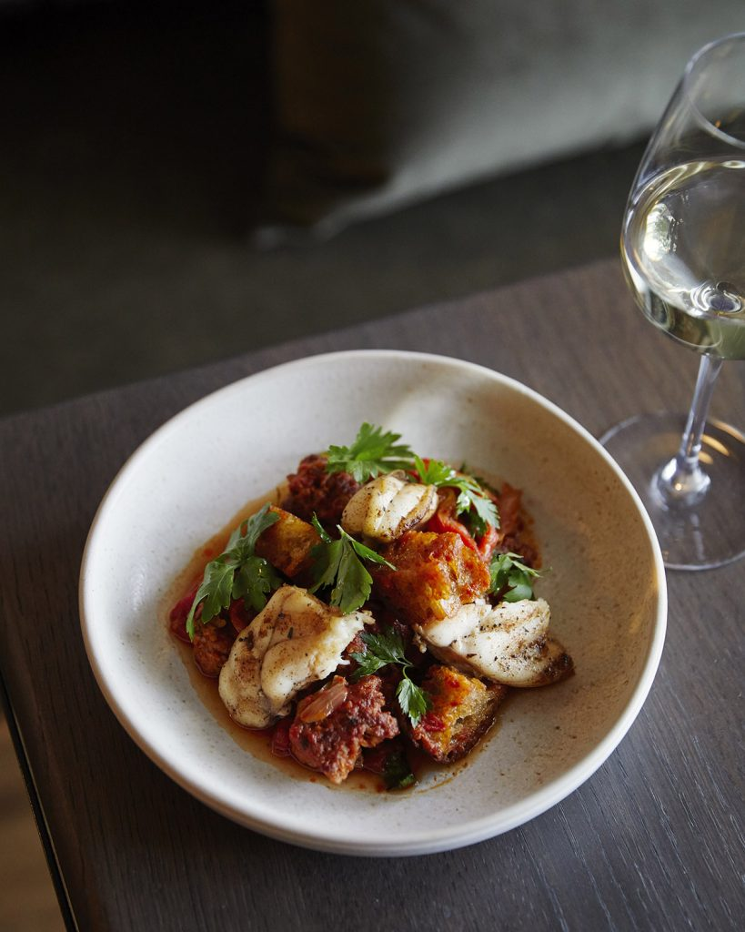 Monkfish, Braised Red Peppers and Fresh Chorizo recipe